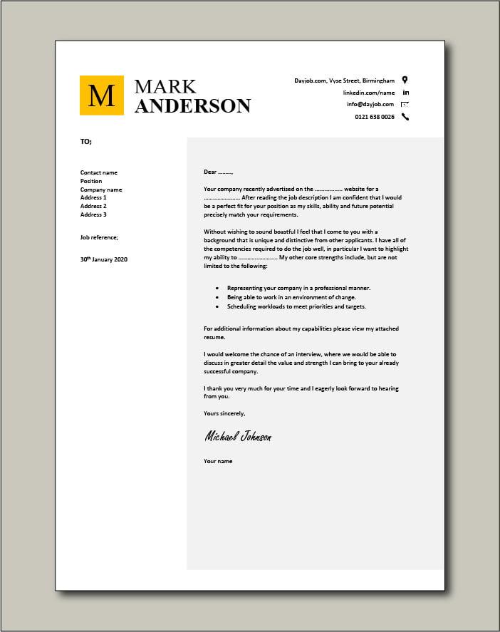 CV template 45 - cover letter