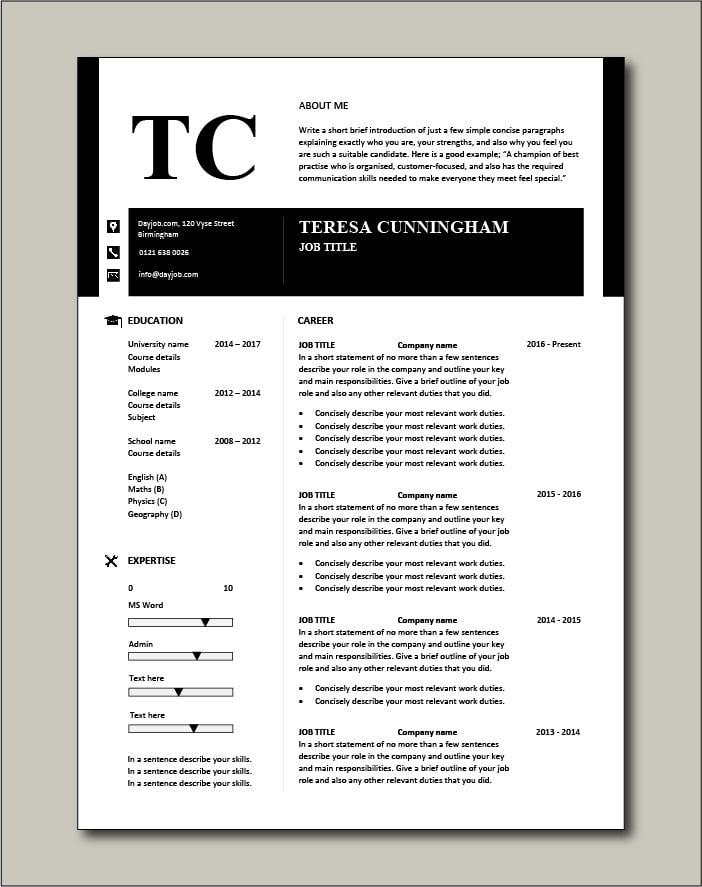 CV template 50 - 1 page version