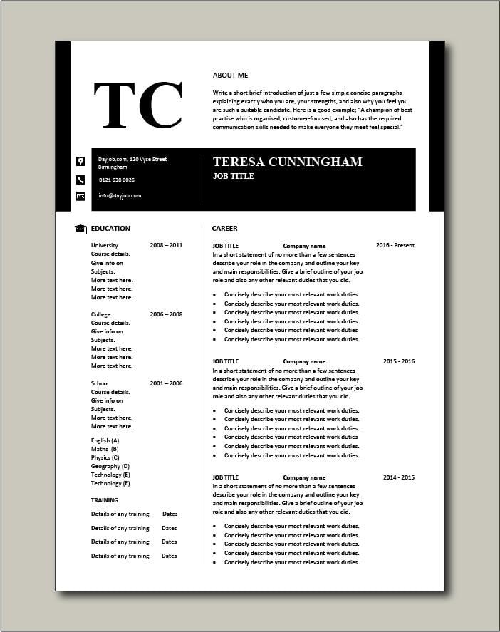 CV template 50 - 2 page version