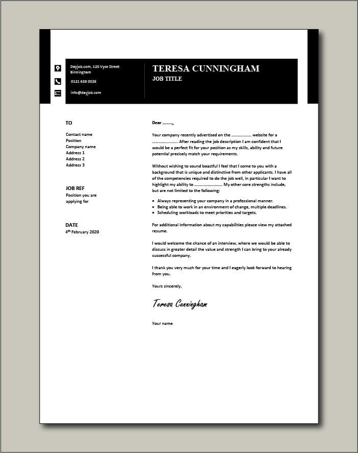 CV template 50 cover letter