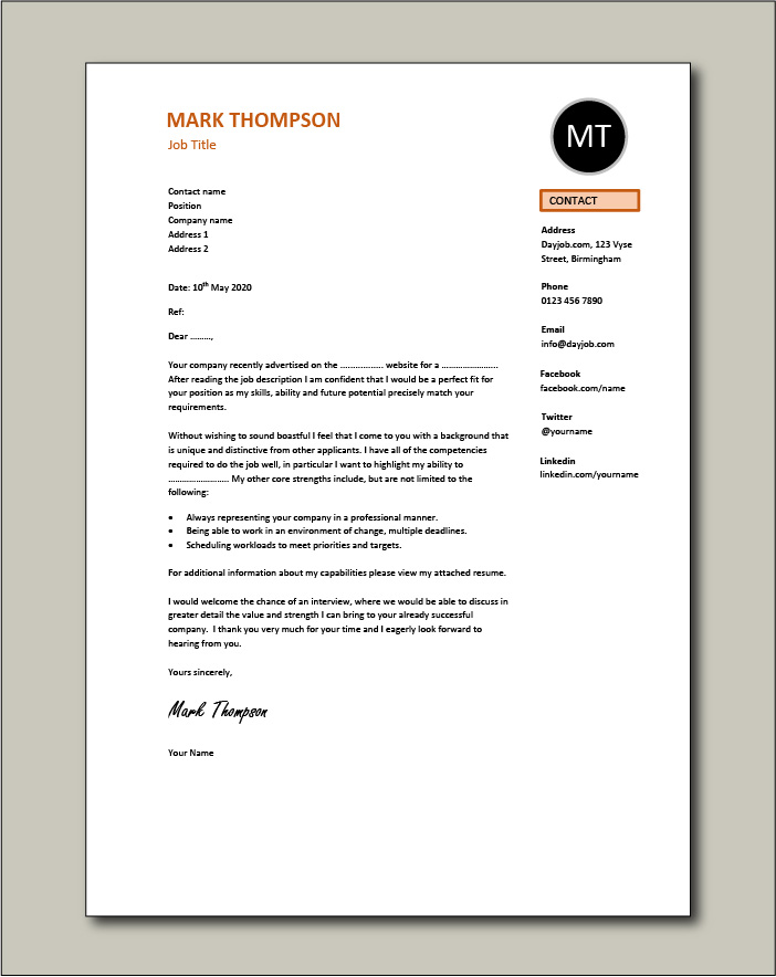 CV template 51 - cover letter