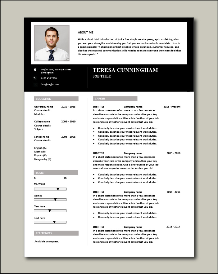 CV template 54 - 1 page