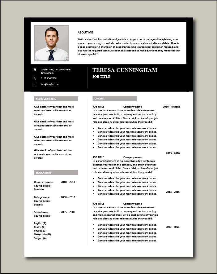 CV template 54 - 2 pages
