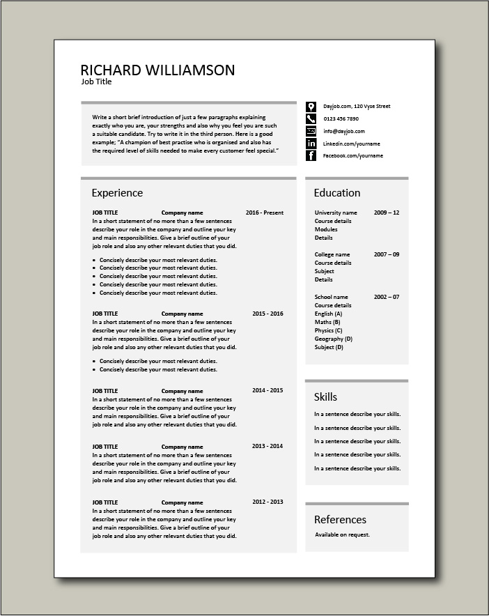 CV template 55 - 1 page