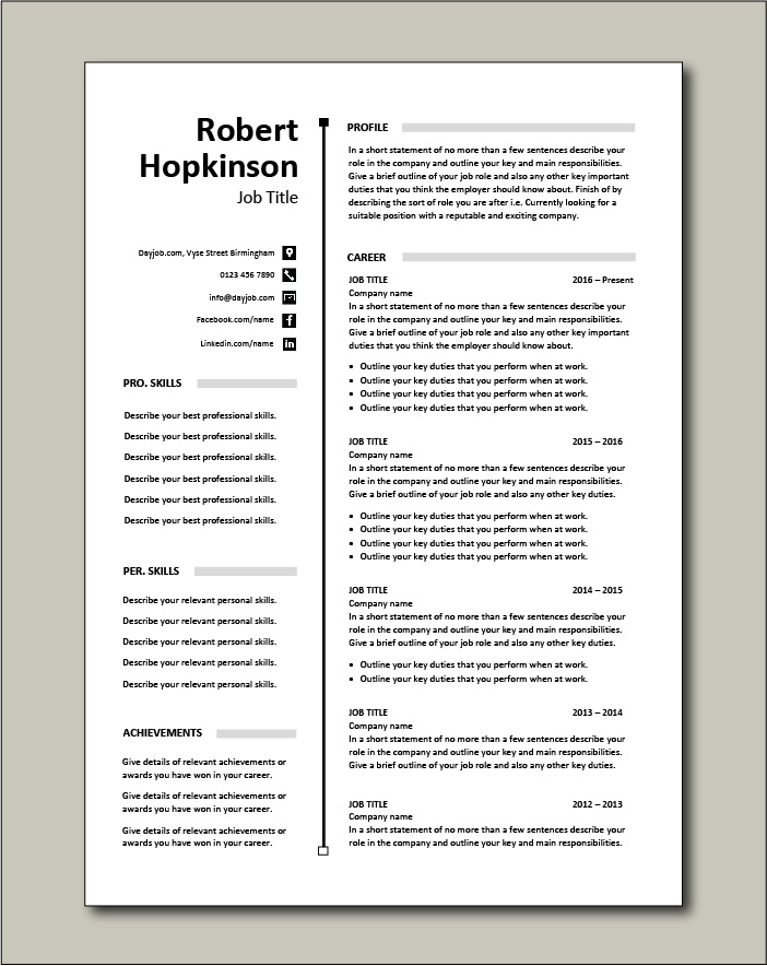CV template 56 - 2 pages