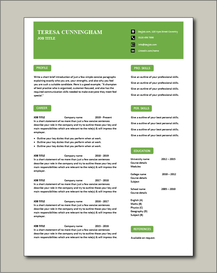 CV template 58 - 1 page