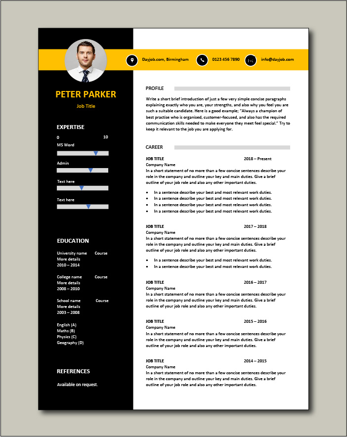 CV template 62 - 1 page