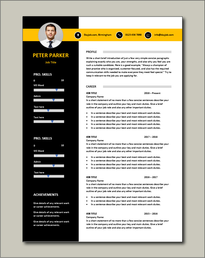 CV template 62 - 2 page