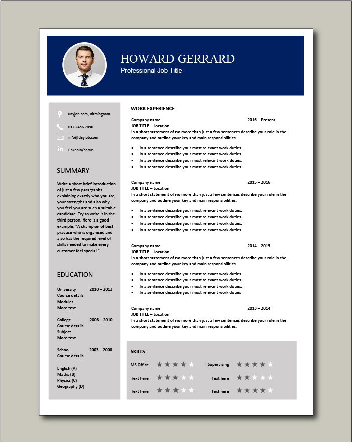CV template 64 - 1 page