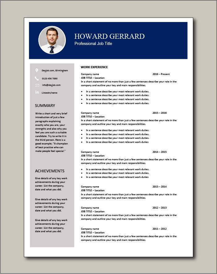 CV template 64 - 2 page
