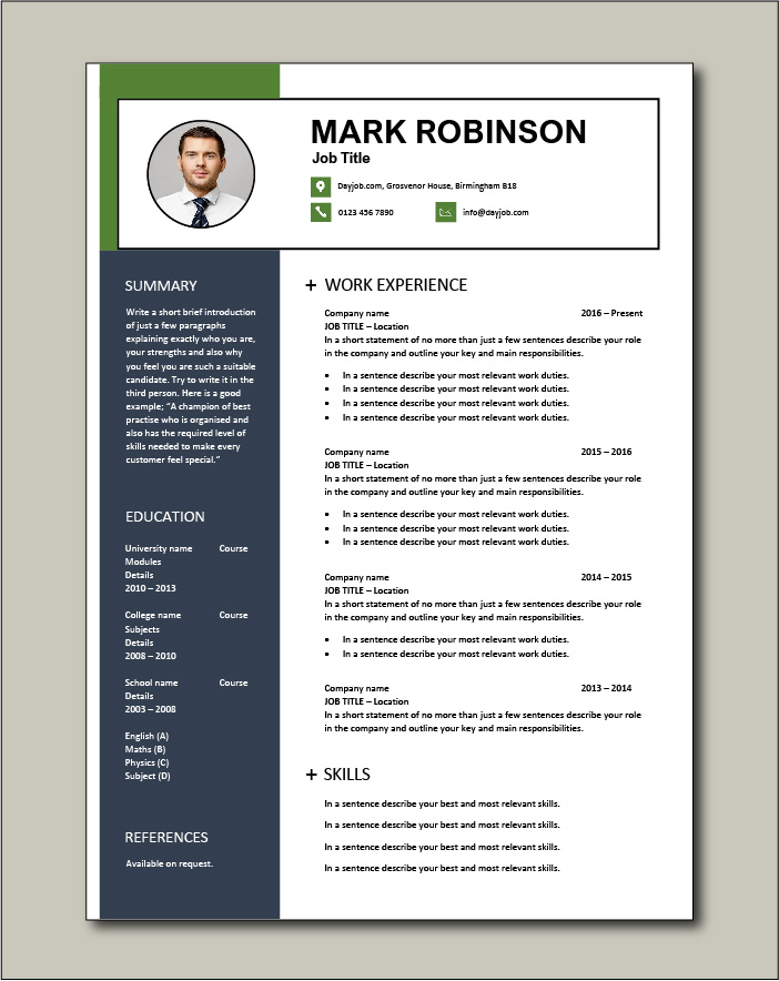 CV template 66 - 1 page