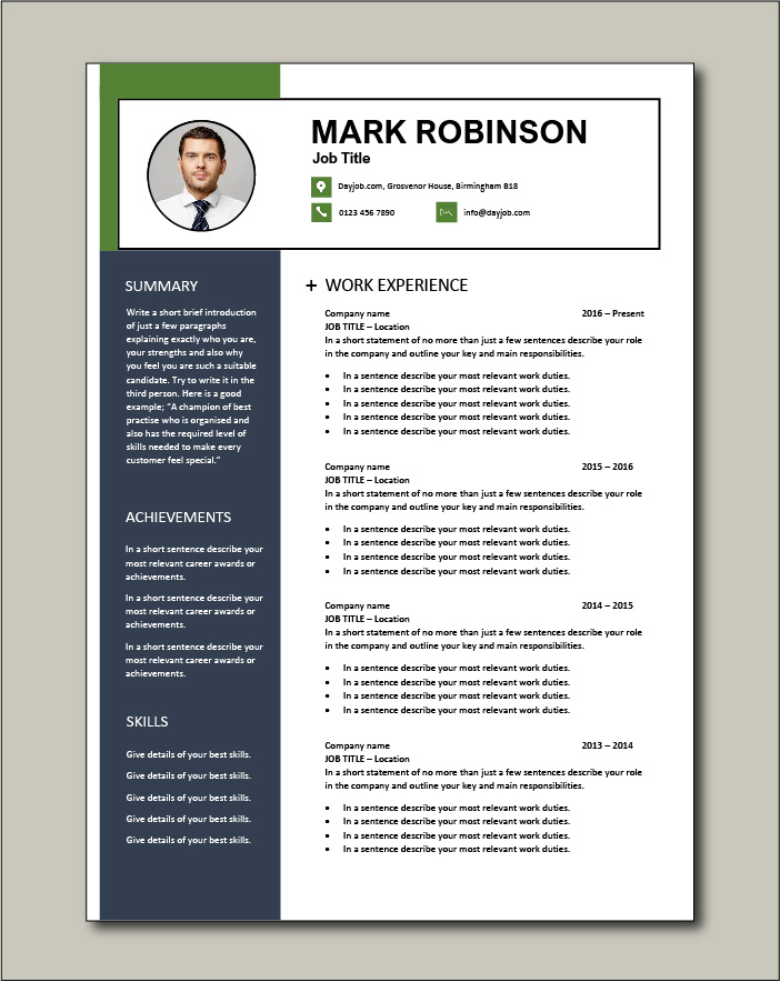 CV template 66 - 2 page
