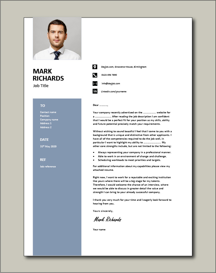 CV template 67 - Cover letter