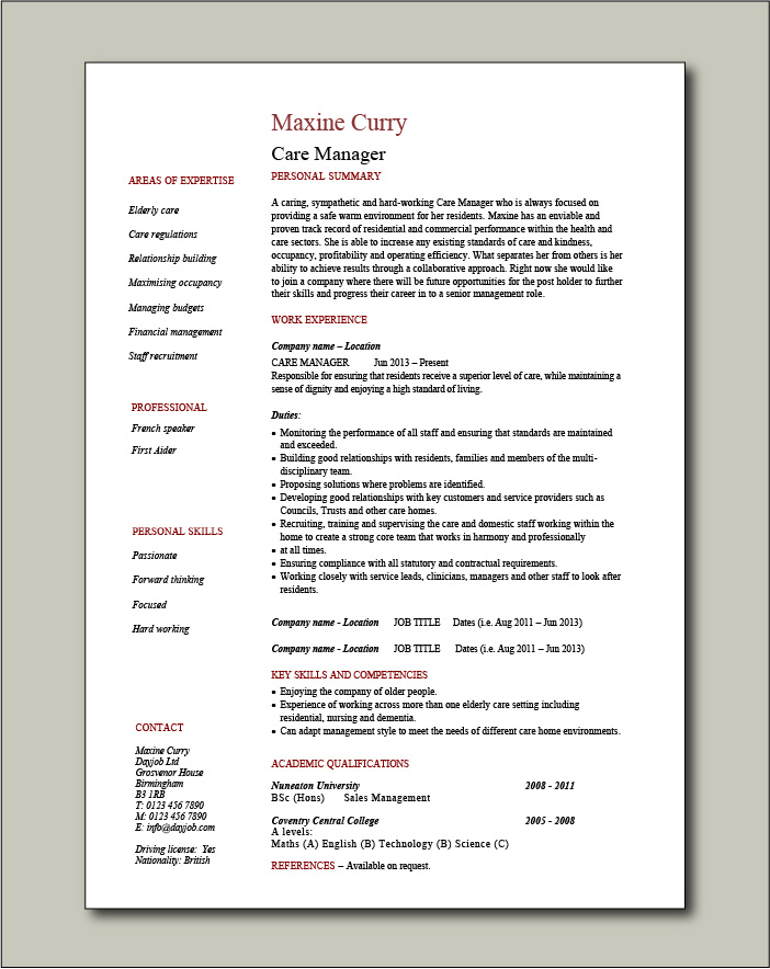 Care Manager CV - 1 page