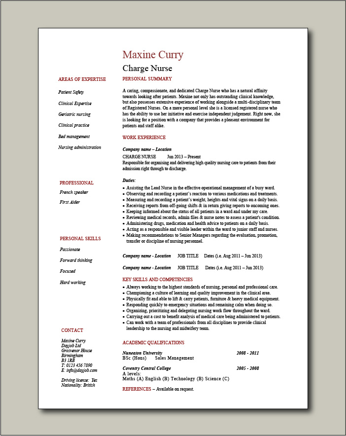 Charge Nurse CV template - 1 page