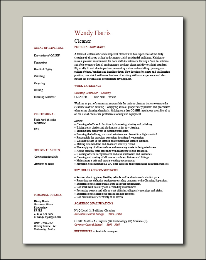 Cleaner CV - 1 page