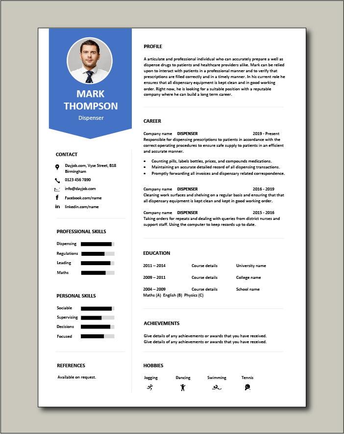 Dispenser CV template - 1 page