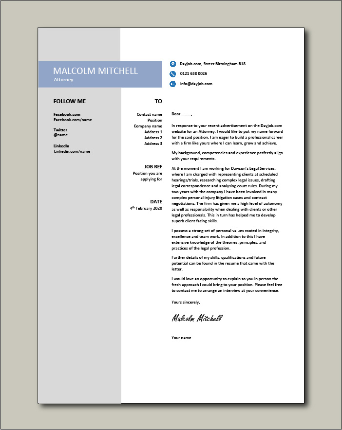 Free Attorney cover letter example 4