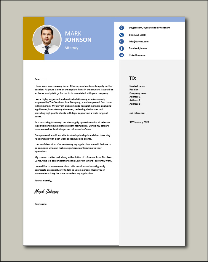 Free Attorney cover letter example 5
