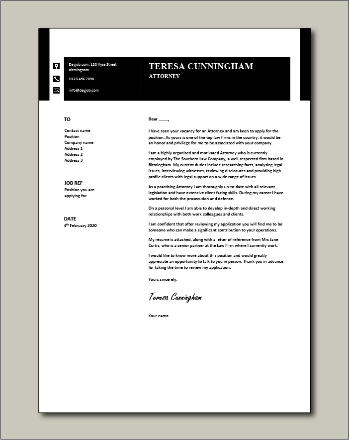 Free Attorney cover letter example 6