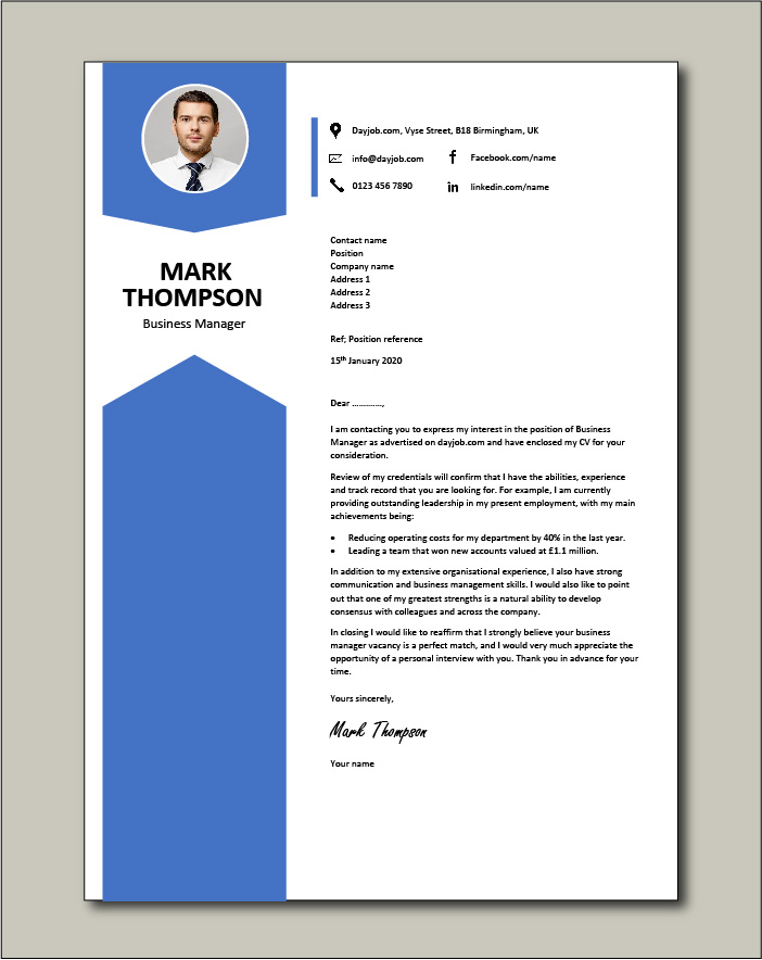 Free Business Manager cover letter example 3