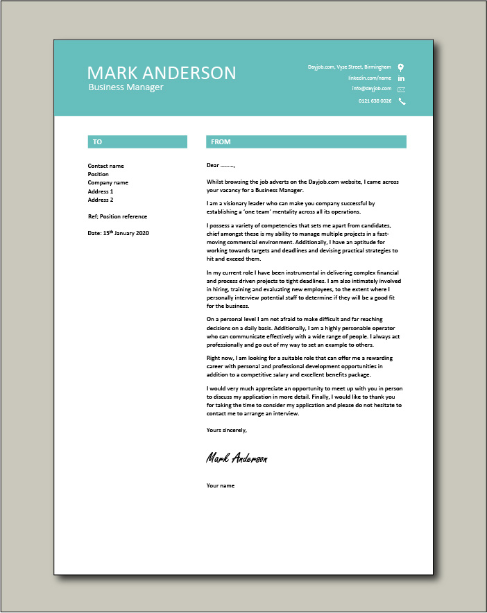 Free Business Manager cover letter example 7