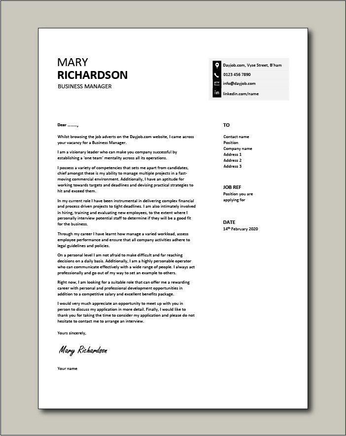 Free Business Manager cover letter example 8