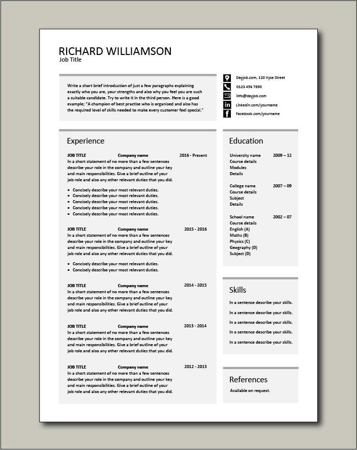 Free CV template 55