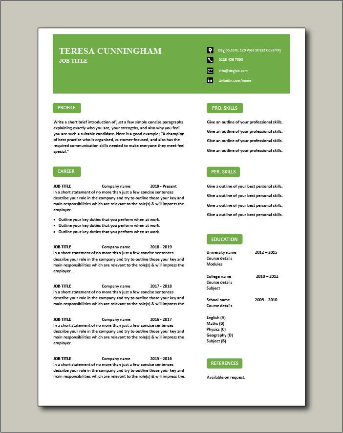 Free CV template 58