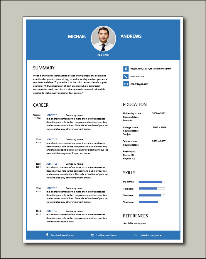 Free CV template 68