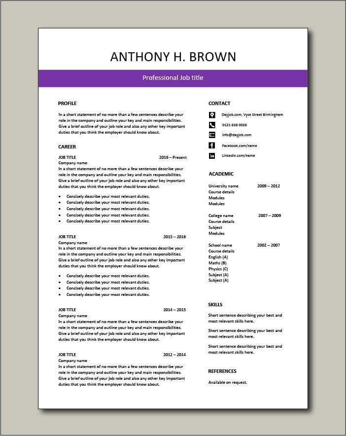 Free CV template 73