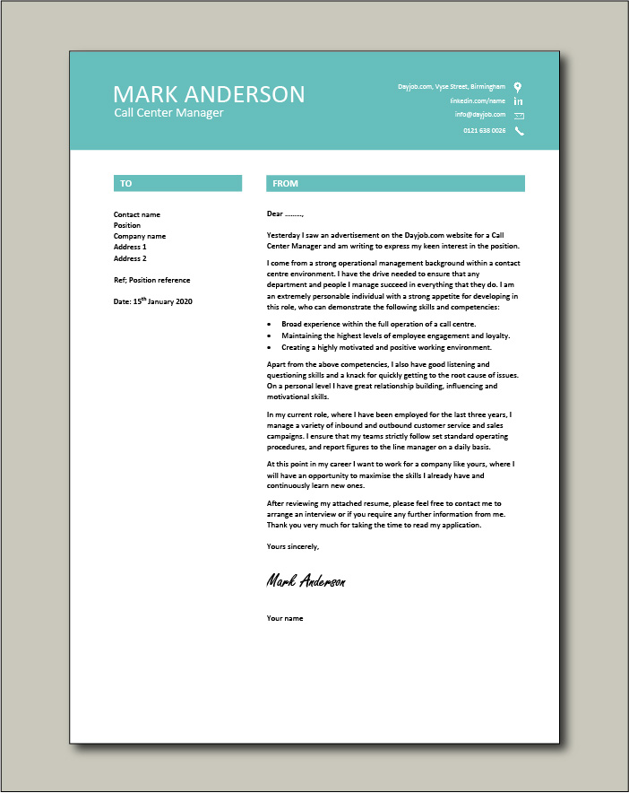 Free Call Center Manager Cover Letter Example 7