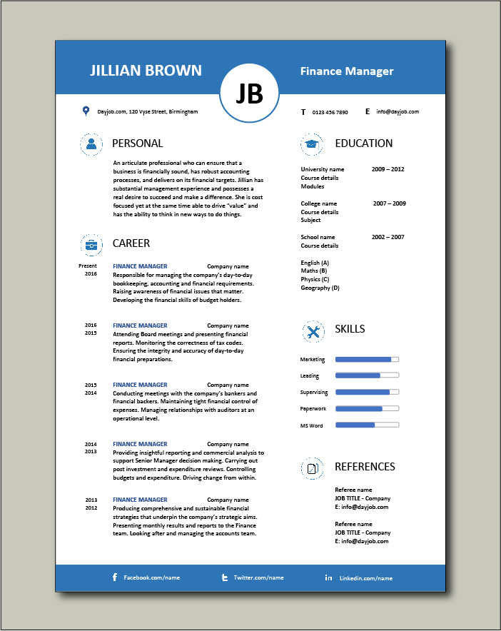 Free Finance Manager resume template 1