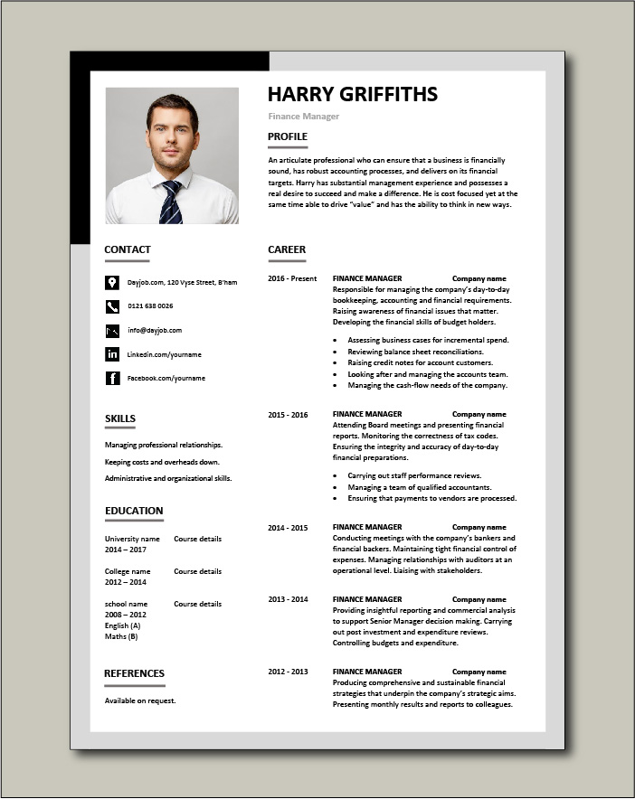 Free Finance Manager resume template 3