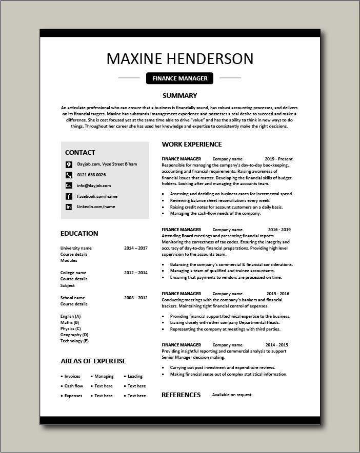 Free Finance Manager resume template 4