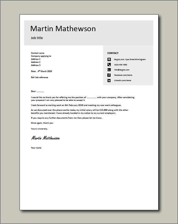 Free Job acceptance letter template 4