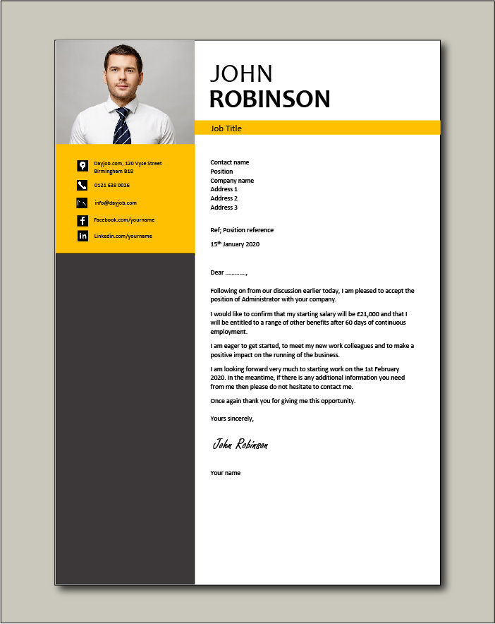 Free Job acceptance letter template 5