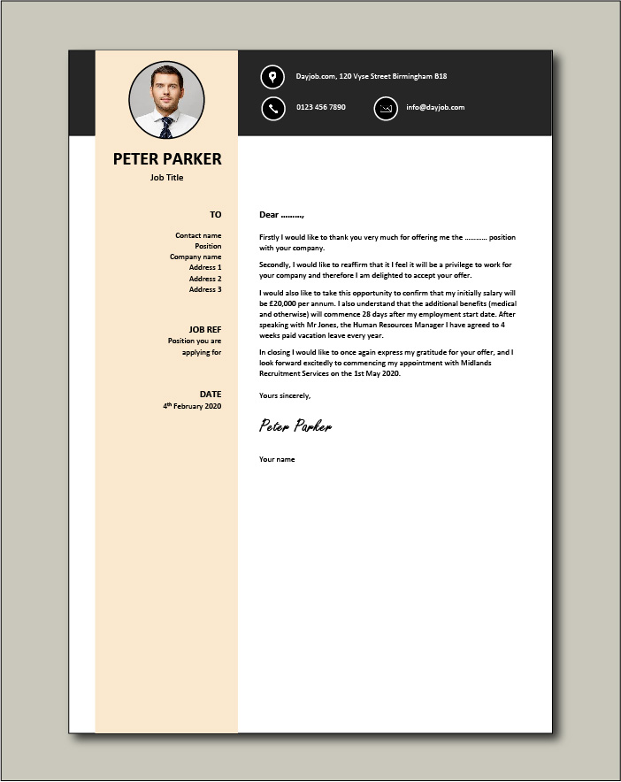 Free Job acceptance letter template 7