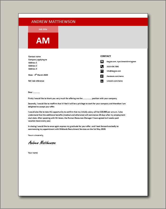 Free Job acceptance letter template 8