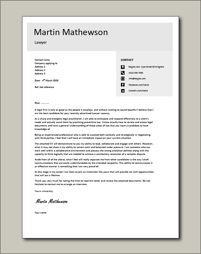 Free Lawyer cover letter example 4