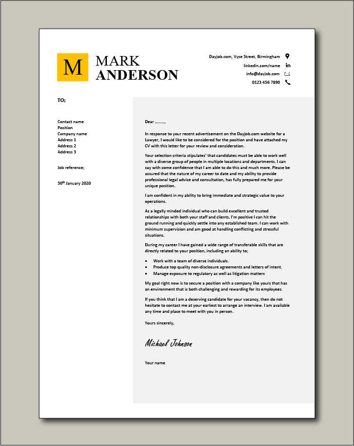 Free Lawyer cover letter example 6