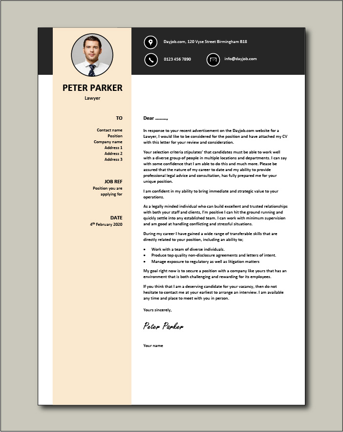 Free Lawyer cover letter example 7
