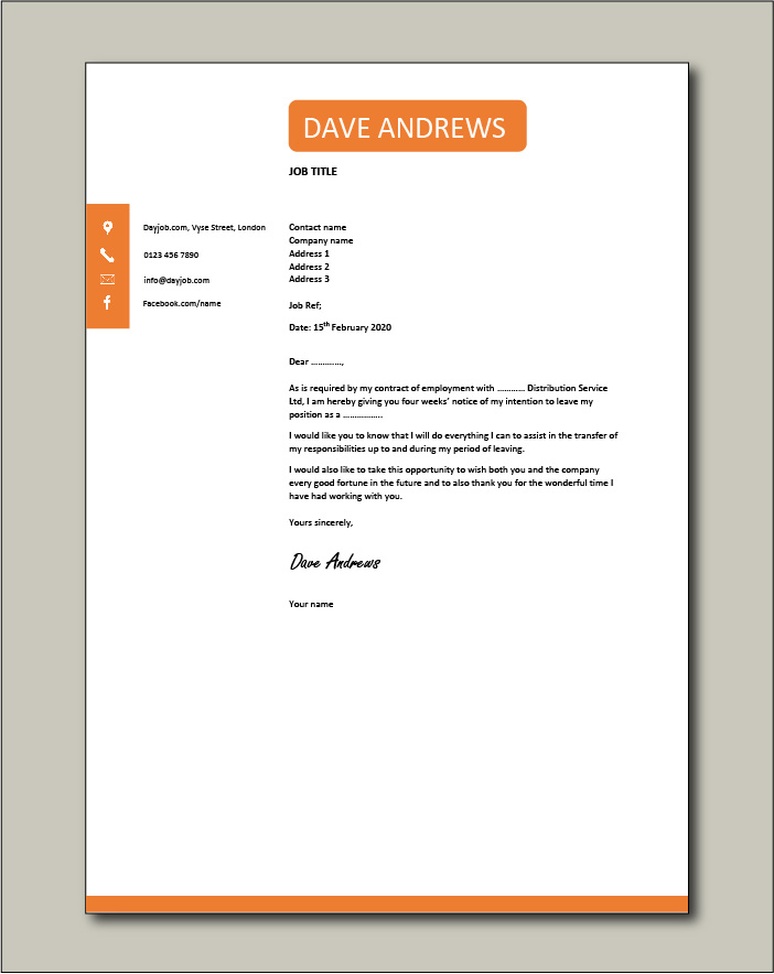 2 Weeks Resignation Letter from www.dayjob.com