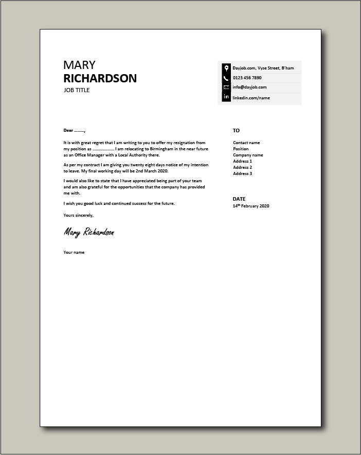 Sample Employment Resignation Letter from www.dayjob.com