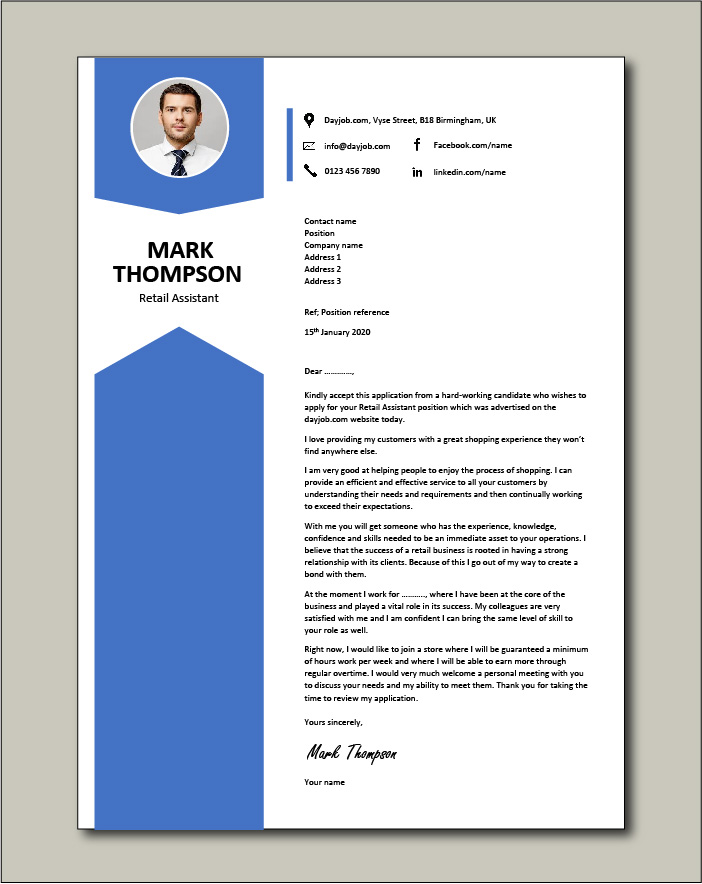 Free Retail Assistant cover letter example 3