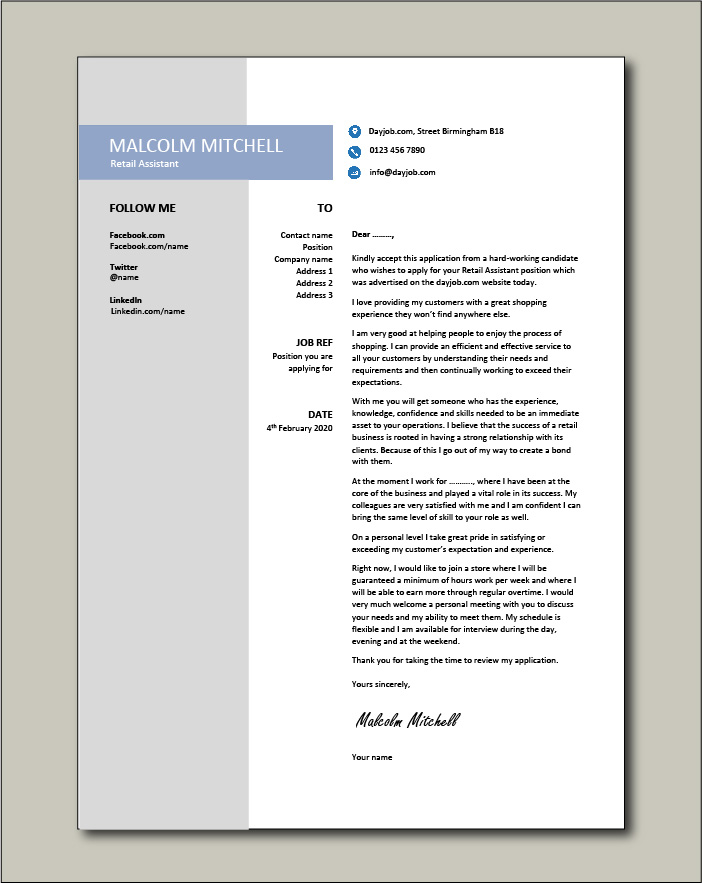 Free Retail Assistant cover letter example 4