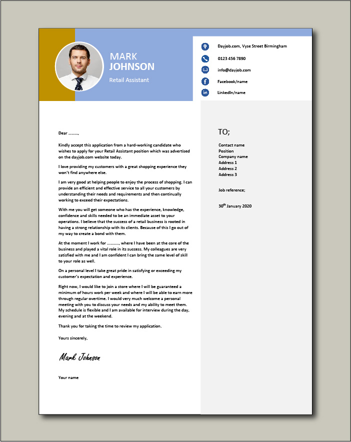 Free Retail Assistant cover letter example 5