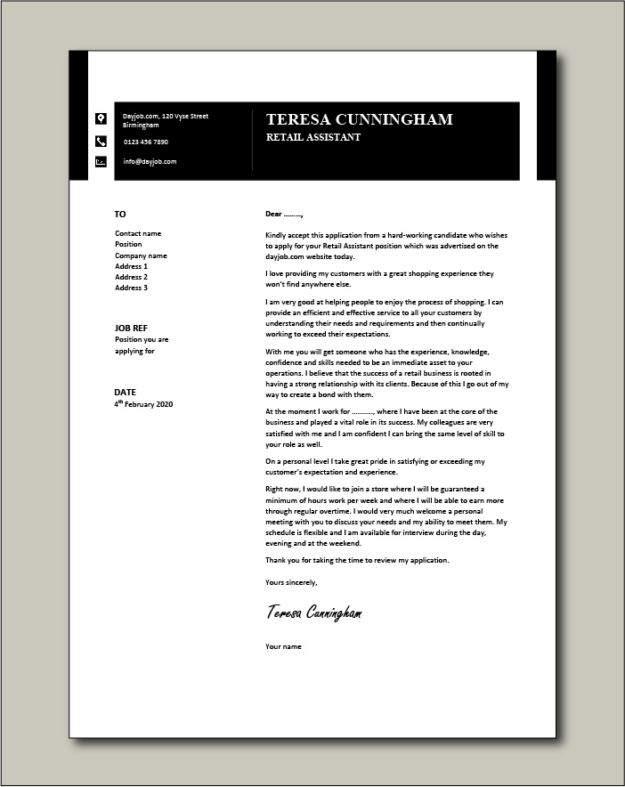 Free Retail Assistant cover letter example 6