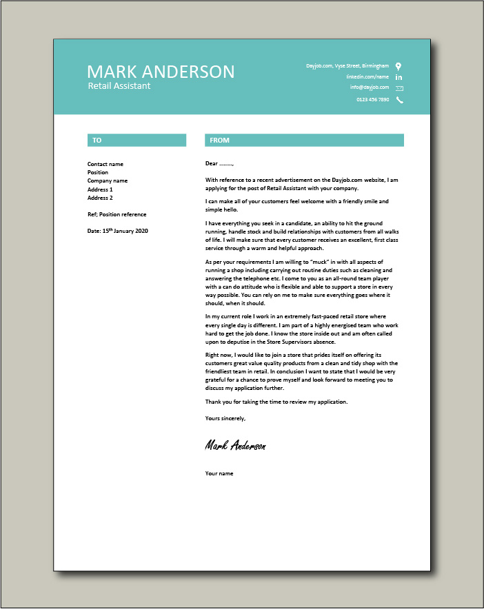 Free Retail Assistant cover letter example 7