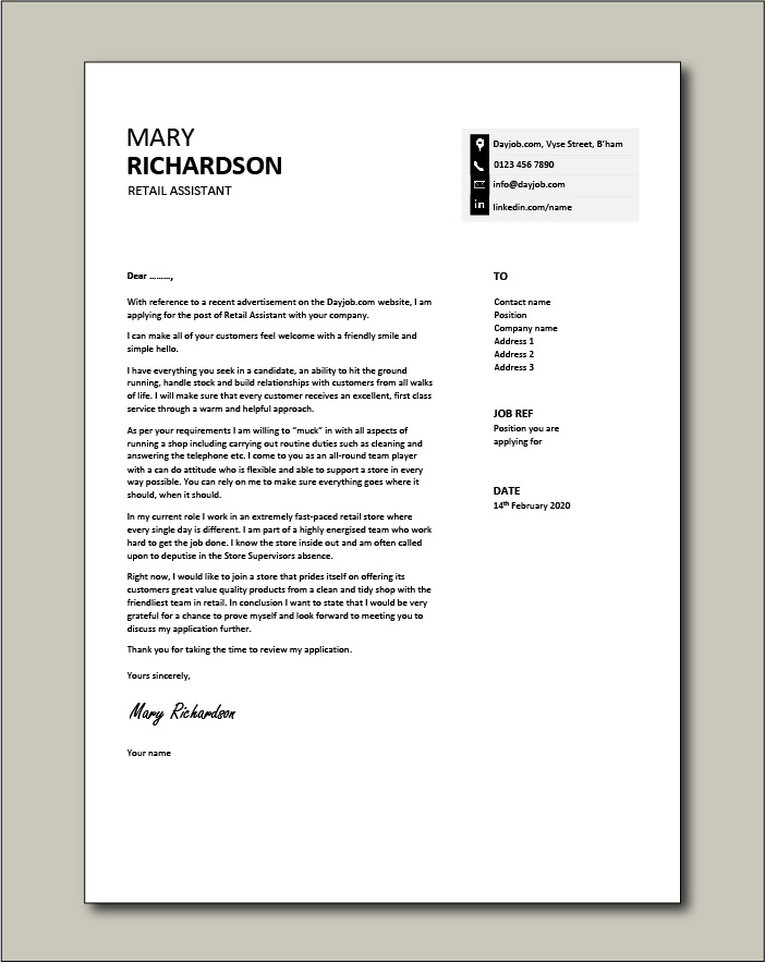 Free Retail Assistant cover letter example 8